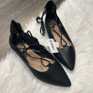 Old Navy Almond Toe Lace Up Black Flats NWT